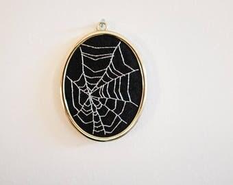 Embroidery Spiderweb handstitched in golden frame unique