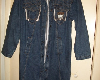 Vintage Bellavia Long Denim Trench Coat Size M