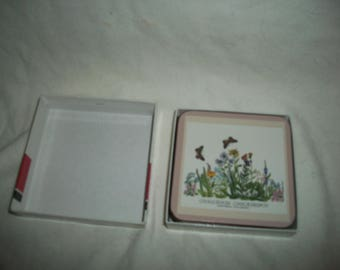 Vintage Pimpernel Coasters (six) with floral pattern in original box, new condition