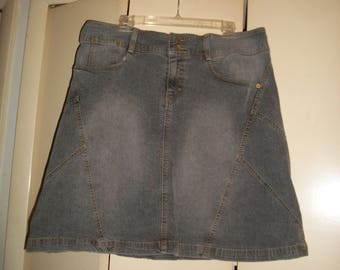 Vintage Faded Gray Denim A-line Skirt Size 15