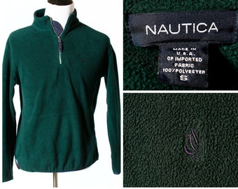 Vintage Men's Nautica Fleece Made in the USA - 90's Retro Small S Green Pullover