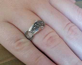 Jaguar Ring. Marcasite Ring and Sterling Silver. Gift for her