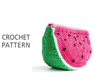 Watermelon purse, Crochet Pouch Pattern, Crocheted little bag, Cosmetic purse Fruit Pouch, Instant Download - PDF