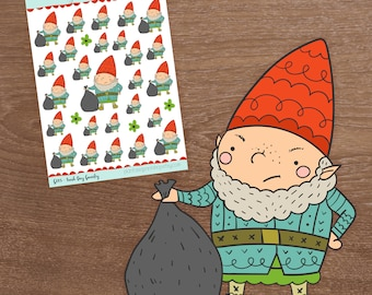 Trash Day, Gnarley the Gnome, Gnome Stickers, Planner Stickers, Use with Erin Condren, Happy Planner, Inkwell Press, Garbage Day, Chores