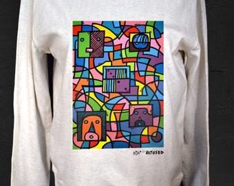 """Women's Sweatshirt Artused Design """"Le Dé"""" 100% Organic - Paint & Print in France -"""