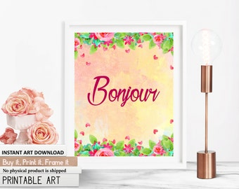 Bonjour quote, french quotes, hello quotes, quotes on hello, french art quote, pink art quote, floral french, floral quotes, digital quotes