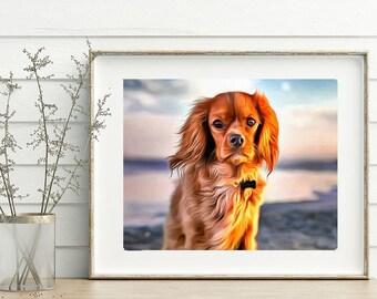 Custom Acrylic Dog painting, pet artwork, dog commission, dog illustration, pet portrait, photo to art, custom dog art, digital dog art