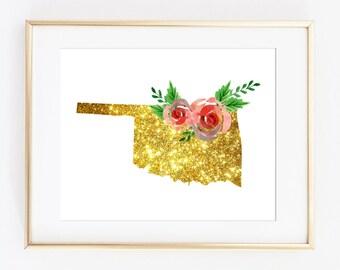 Oklahoma gold art, oklahoma print, OK state art, OK printable, OK wall decor, ok wall art, ok poster, bling art, sparkle art, state gift