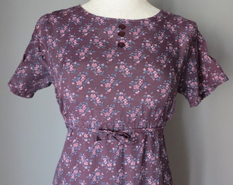 Vintage 1990's dress   baby doll dress   day dress   purple floral dress   purple midi dress   short sleeve dress   floral midi dress