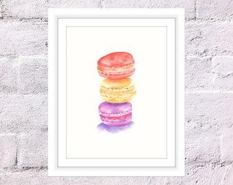 Macaroons Print, Watercolour Macaroons, Stacked Macaroons Art, Bonjour French Macarons, Dessert Print, Kitchen Print, Watercolor Food Art