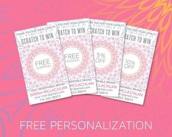 Scratch Off Cards, Loyalty, Digital file, Mandala Design, Boho , Instant Download, Free Customize, Marketing