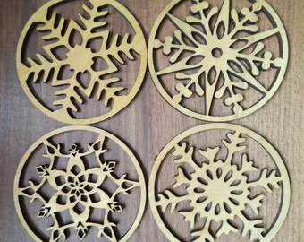 Christmas Coasters x 4, Hardwood, Snowflake Design