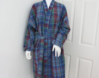 Vintage dressing gown, gentleman's evening robe, blue tartan cotton robe, smoking jacket, men's dressing gown, bath robe, men's sleepwear