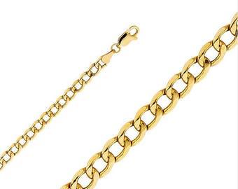 "10K Yellow Gold Hollow Cuban Bracelet 4.8mm 7-9"" - Curb Chain Link"