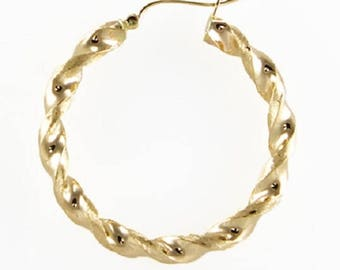 10K Yellow Gold Round Twisted Hoop Earrings 6mm 60-100mm - Swirl Twist Pair (2)