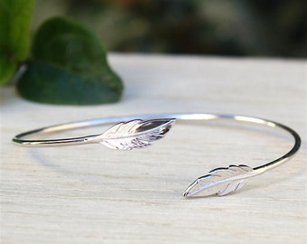 Feather bracelet ring Sterling Silver 925