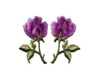 A Pair Of Beautiful Purple Rose Roses Flower Bouquet Iron On Patches Sew On Appliques