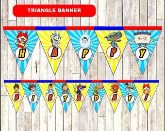 Yo Kai Watch Triangle Banner, printable Yo-Kai Watch party Banner, Yo-Kai Watch  Banner - Instant download