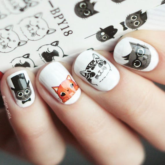 Cute Cat Nail Decals from MakeWithLoveDesign on Etsy Studio