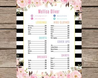 Printable Price List Poster, Skirts Dresses Shirts and Leggings Price List Sign Digital File LLR028