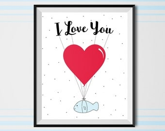 i love you, love print, valentine's day, valentine print, Printable art, heart print, Printable Love Poster, printable wall art, gift idea