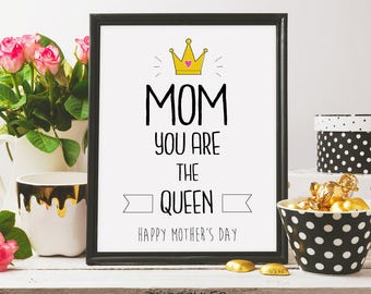 mom you are the queen , doodle art, gift idea, black ink, flowers, watercolour, mother's day print, mothersday, printable art, digital print