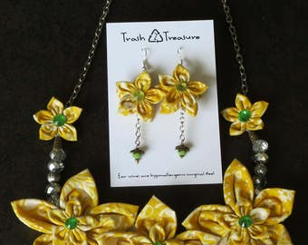 Batik Scrap Fabric Necklace and Earring Set, Trash to Treasure, One of a Kind Gift