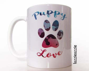 Dog lover Puppy love tie dye psychedelic watercolour paw print mug. Perfect for all animal lovers, dog owners and pooch hippies at heart!