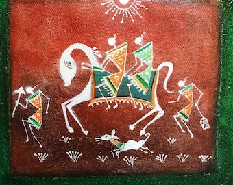 Original Warli Art painting by our shop's own Artisan - Acrylic on Canvas in Orange, Yellow & Red on Green background ideal Christmas gift