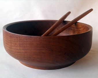 Modern Danish Teak Salad Bowl with Fork and Spoon