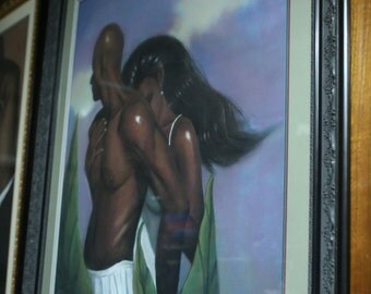 """My protector By Laurie Cooper is original pastel and it comes Framed and matted,(46'' x60"""")Black Art,African american art,Prints,Canvas Art."""