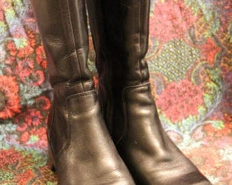 Womens FRYE Frenzy Black Leather Campus Toe Zip Up Boots