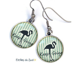 Earrings black flamingos, the camargue, surgical steel hooks, ref.314