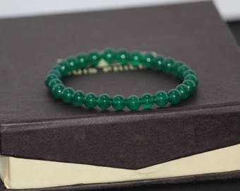 Green Onyx Bracelet | Birthstone Beaded Bracelet