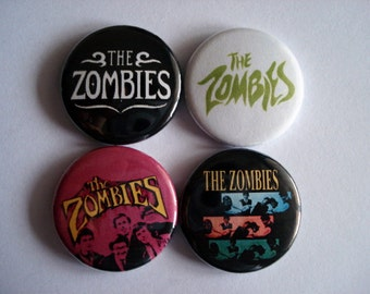 "4 x The Zombies 1"" Pin Button Badges ( odessey and oracle rock england mod 60s )"