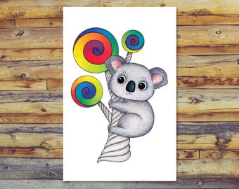 Koala Card, Printable Greeting Card, Instant Download, Digital Download, Koala Art, Blank Card, Pencil Art, Cute Koala, All Occasion Cards