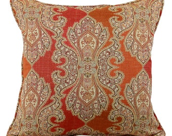 Red and Orange Two Toned Damask Decorative Lumbar and 20 Inch Pillow Cover
