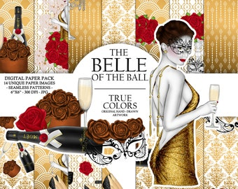 Belle of the ball Digital Paper Pack Ball Girl Fashion Illustration Planner Stickers Supplies Seamless Champagne Gold Watercolor Background