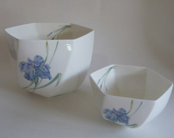 Blue floral Decorative Bowl/Christopher Stuart Blue Iris Bowl Set/Bone China Hexagon Bowls/Iris Y1519, floral Pattern/Southern Serving