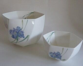 Christopher Stuart Blue Iris Bowl Set/Bone China Hexagon Bowls/Iris Y1519, floral Pattern/Decorative bowl/sister gift/mother gift