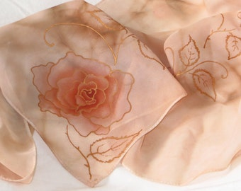 """Scarf """"Rose"""" painted by hand, ' ' 160x50-(Chiffon, pale pink, Beige, light brown, Light brown, Roses, Flowers, Hand painted silk scarf)"""