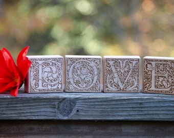 LOVE engraved wood blocks - classic, rustic home decor - free ship in US!