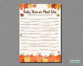 Mad Libs Game Printable, Pumpkin Baby Shower Mad Libs, Madlibs, Little Pumpkin, Fall Baby Shower Madlibs, Rustic Baby Shower Mad Libs