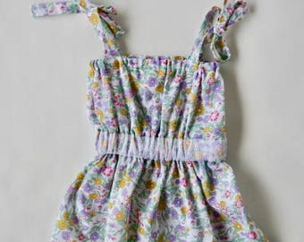 Newborn dress, premie baby, ties at shoulders. size 0000 floral and lace