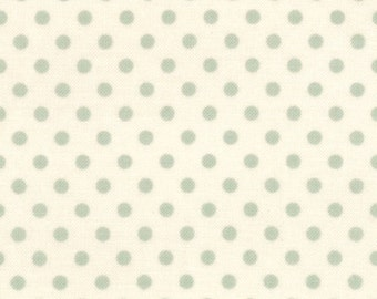 Vintage Blue Dot Fabric - Cosmo Cricket Odds and Ends Fabric - Small Duck Egg Blue Polka Dot Cotton