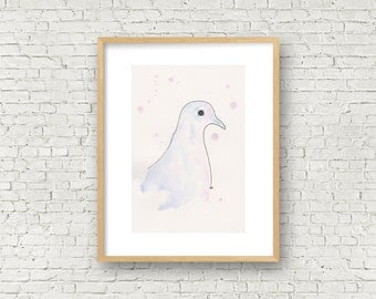 Made by hand. Watercolor painting. Dove. Bird. Illustration. Art. Original painting. Wall art. Drawing. Gift