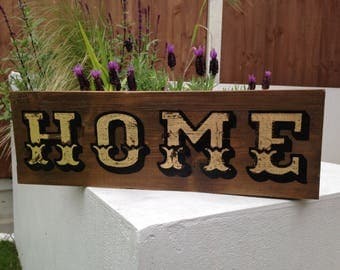 Vintage Hand Painted and Gold Leaf HOME Sign