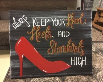 Hand painted Head, heels and standards canvas