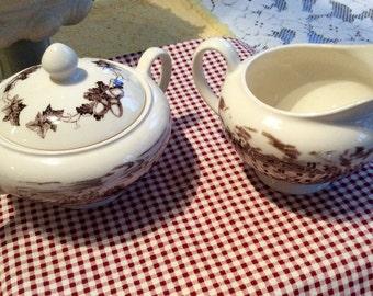 Vintage brown Transferware creamer and covered sugar bowl set, English china