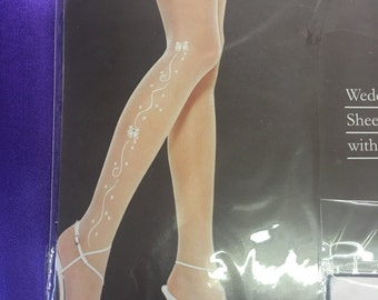 Wedding thigh high hose, embellished wedding hose, bridal lingerie, pantyhose, white only